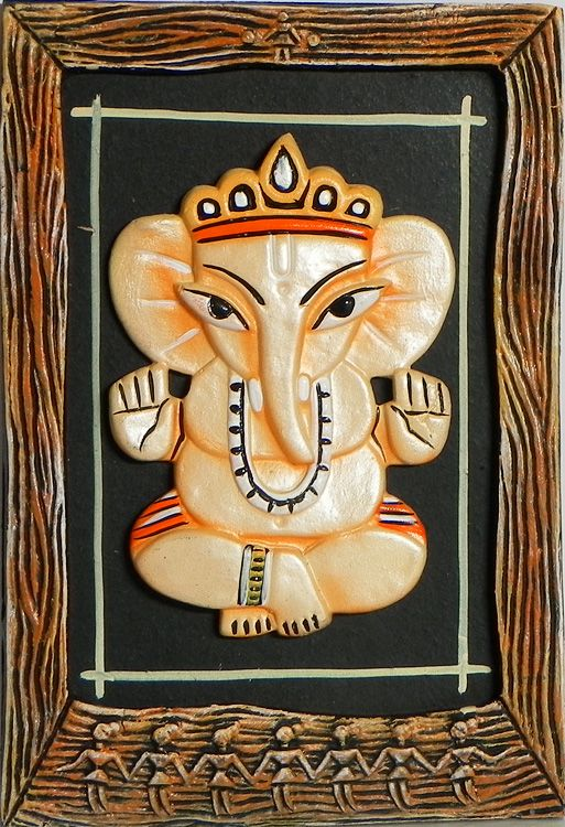Sitting Baby Ganesha - Wall Hanging (Terracotta))