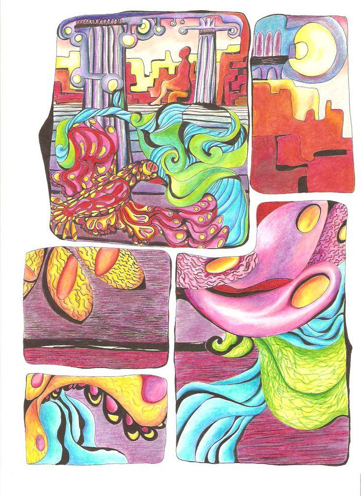 """""""Fin de la ciudad"""" 2012, dibujo tinta y rotuladores."""