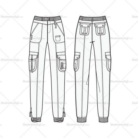 Women's Utility Jogger Pants Fashion Flat Template
