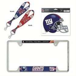 new york giants ny license plate frame and key chain gift set