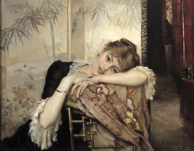 Albert Edelfelt (1854-1905) Pariisitar (Virginie), 1883. Joensuun taidemuseo, Neiti Arla Cederbergin taidekokoelma. Kuva: Kansallisgalleria / Hannu Aaltonen