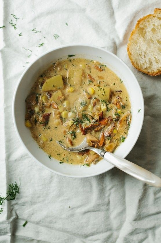 Chanterelle Chowder with Bacon and Corn