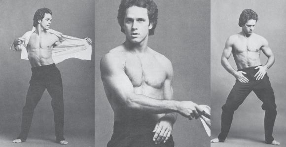 A young Gregory Harrison strips in a promotional photo for the TV movie For Ladies Only.