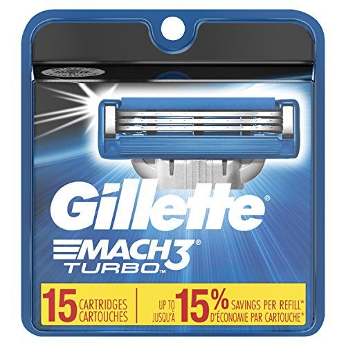 Gillette Mach3 Turbo Men's Razor Blade Refills, 15 Count, Mens Razors / Blades. For product & price info go to:  https://beautyworld.today/products/gillette-mach3-turbo-mens-razor-blade-refills-15-count-mens-razors-blades/