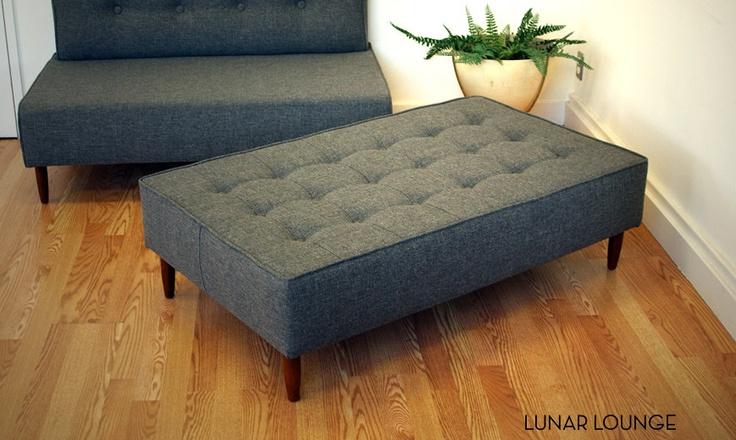 Bokz Button Top Sofa Bench  twill Eames Era by lunarloungedesign, $575.00