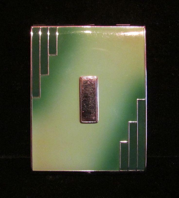 Vintage Cigarette Case Evans 1930s Art Deco Business Card Case Enamel Cigarette Case