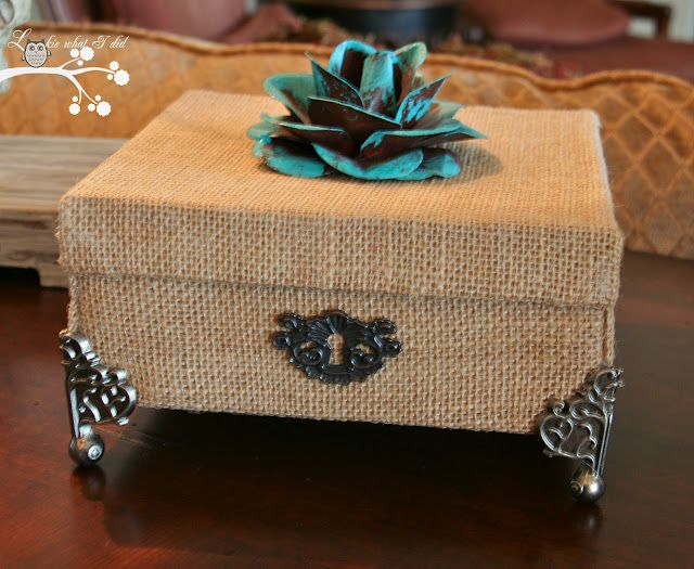A Cardboard Box Transformation with Burlap.... We so had this idea first just wish we pinned it