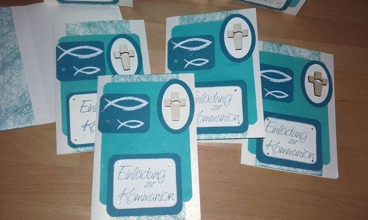 Einladungen zur Kommunion Stampinup und viva Decor, Prägeform Leise rieselt, Framelits Ovale