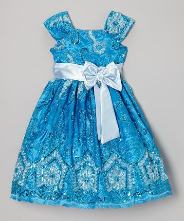 Look what I found on #zulily! Blue Floral Sequin A-Line Dress - Infant, Toddler & Girls #zulilyfinds