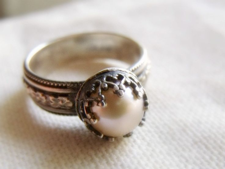 Crown Pearl Ring - Sterling Silver Wide Floral Band - Peach, Mauve or White 9mm Round Pearl - Patina Finish - MADE TO ORDER. $74.95, via Etsy.