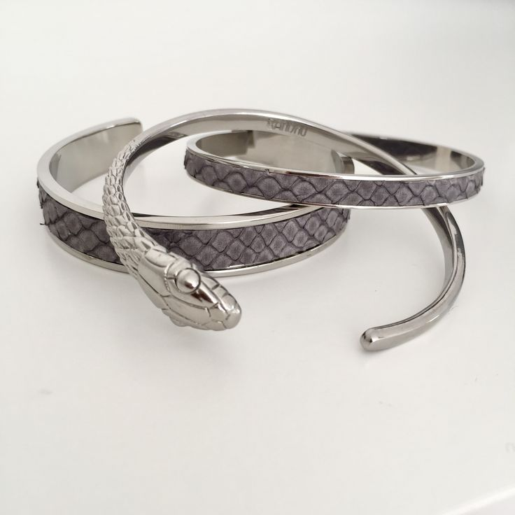 Bandhu Thin and normal Union leather inlay bracelets and snake bracelet | www.bandhu.eu