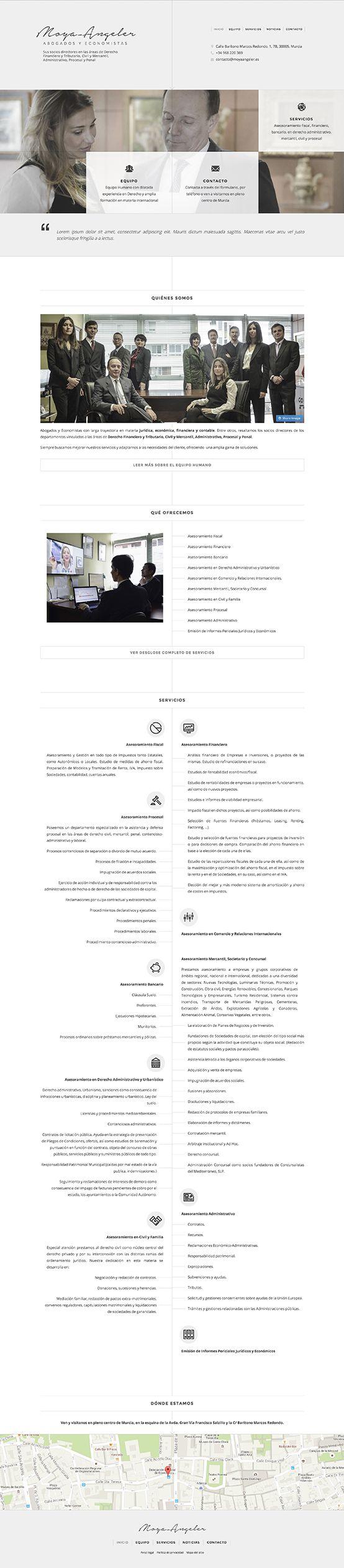 El reto principal del proyecto Moya-Angeler web era dar visibilidad online a unos de los bufetes de abogados más importantes de Murcia y, así, poner en contacto con clientes potenciales. Se diseño, con Jimdo, un entorno sobrio y elegante según los cánones de la marca.