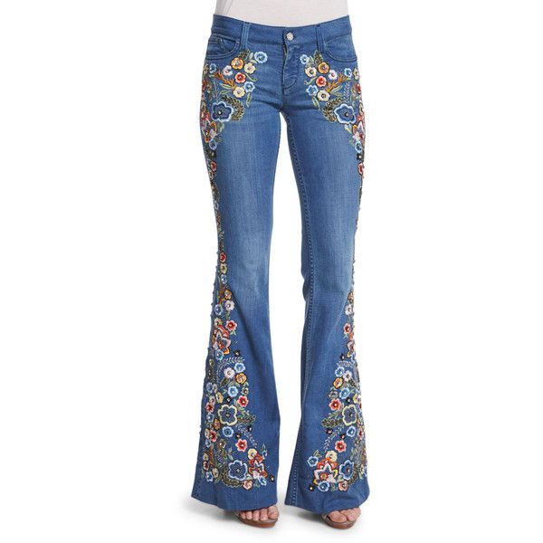 Alice + Olivia Ryley Embroidered Flare Jeans ($970) ❤ liked on Polyvore featuring jeans, light blue, fitted jeans, faded blue jeans, embroidered jeans, 5 pocket jeans and flared leg jeans