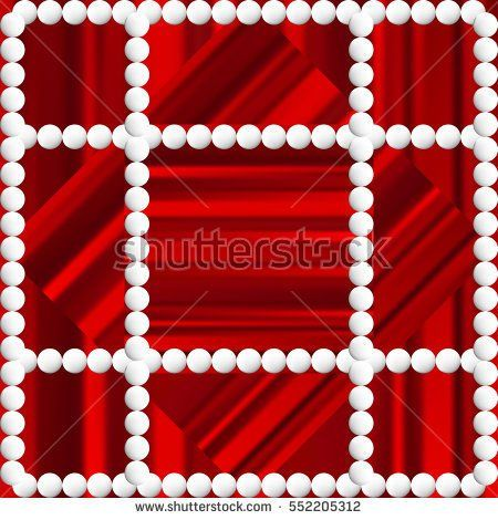 Red striped background with white beads. Festive decoration of paper cards and home.