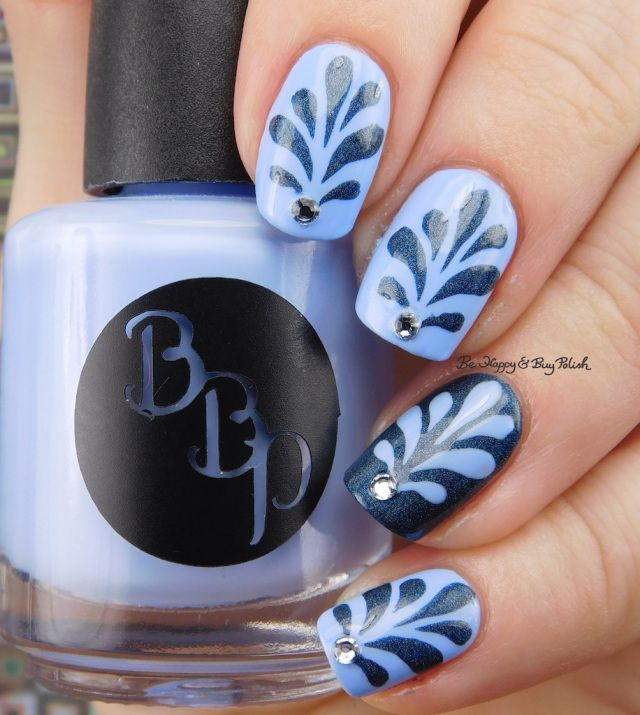 Bad Bitch Polish Blue Steel and Poseidon, Polished Vino Paisley Perennial nail vinyls, Crystal Parade Pearl Mix Snowfall | Be Happy And Buy Polish https://behappyandbuypolish.com/2017/05/01/bad-bitch-polish-water-spout-nail-art/