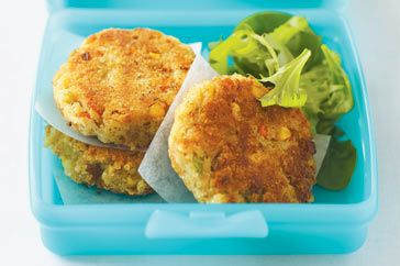 Potato, corn & tuna patties - If you're packing a lunch box today, don't go past these fishcakes which include carrot, celery and corn to give them extra goodness, colour and crunch.