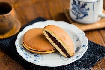 Dorayaki is a popular Japanese snack and dessert, made of honey pancake sandwich with sweet red bean filling. A children and adult's favorite in Japan.