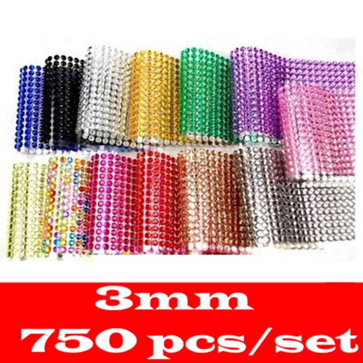 Wholesale Sticker 3mm 750Pcs 12colorDIY Decal Mobile/Pc Art Crystal Diamond Bling Rhinestone Self Adhesive Stickers
