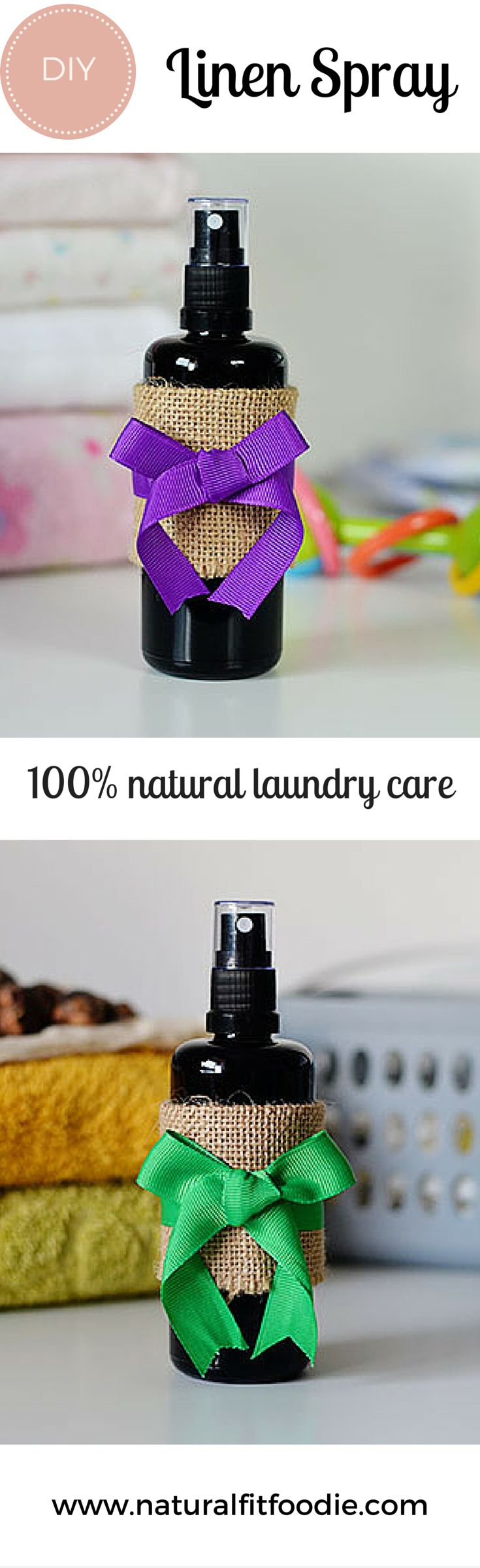 DIY Linen Spray - Ditch those toxic fabric softeners and dryer sheets! This DIY Linen Spray is a safe natural alternative and will leave your clothes with a wonderful naturally fresh scent. A great gift idea!