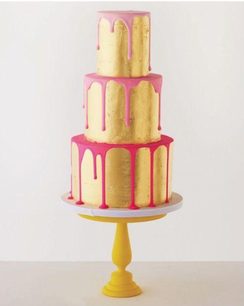 CAKE: Faye Cahill 'Neon Gold Drizzle' three-tier cake, fayecahill.com.au
