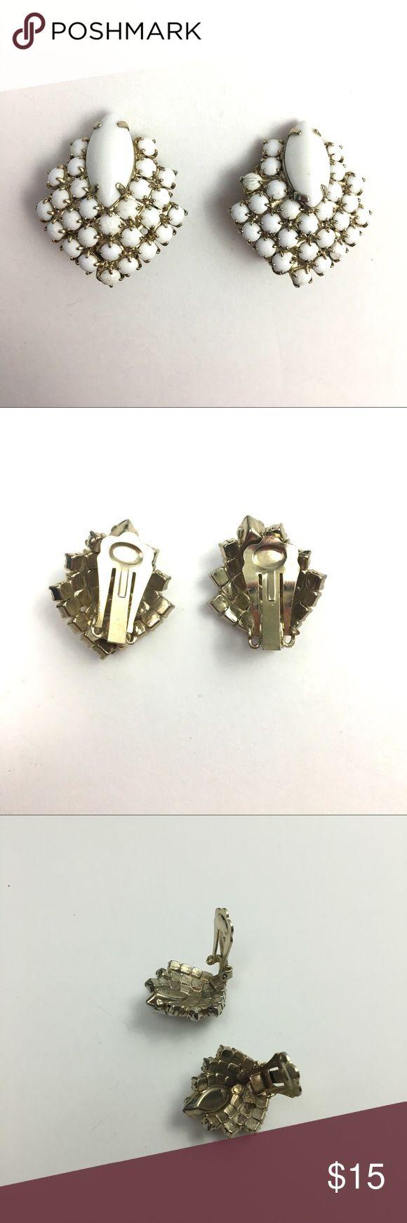 Vintage Prong Set White Beaded Clip On Earrings Stunning vintage white beaded cluster clip on earrings, Prong set; nice condition Vintage Jewelry Earrings