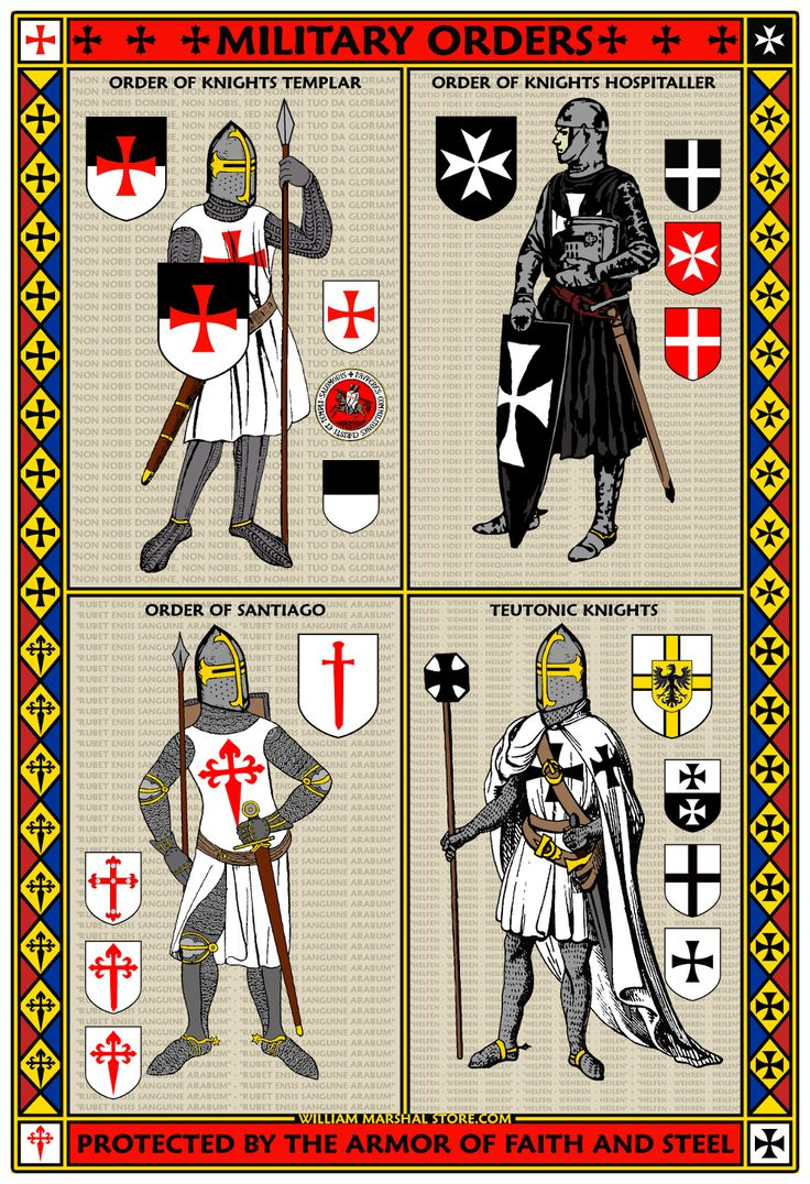 Fantastic Four 13x19 Military Orders Poster features the image of a Knight Templar, Knight Hospitaller, Knight of Santiago and Teutonic Knight.