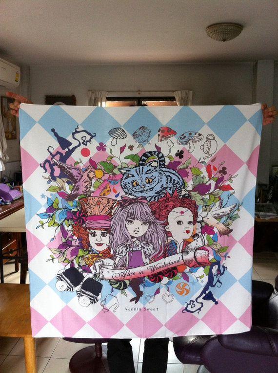Handmade Printed Silk Scarf Collection Alice by VanillaSweetShop, ฿1800.00