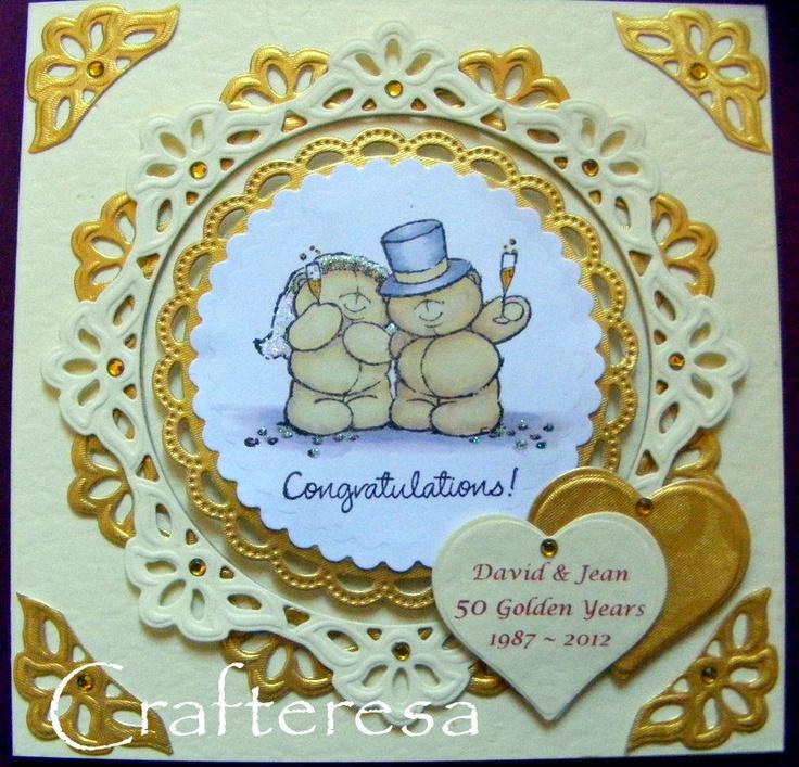 Golden Wedding Anniversary Personalised Luxury Handmade Card hearts & Cute Bears beautiful. £4.99, via Etsy.