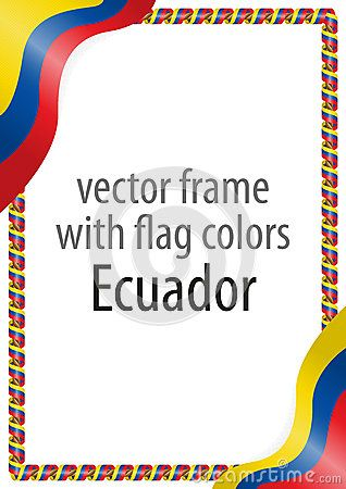 Frame and border of ribbon with the colors of the Ecuador flag.