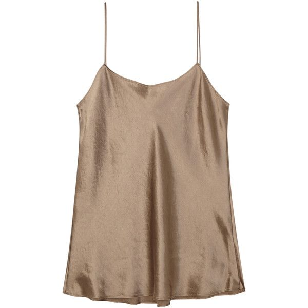 Vince Taupe satin tank ($260) ❤ liked on Polyvore featuring tops, brown tops, low back tank top, brown tank top, vince tank top and taupe tank top