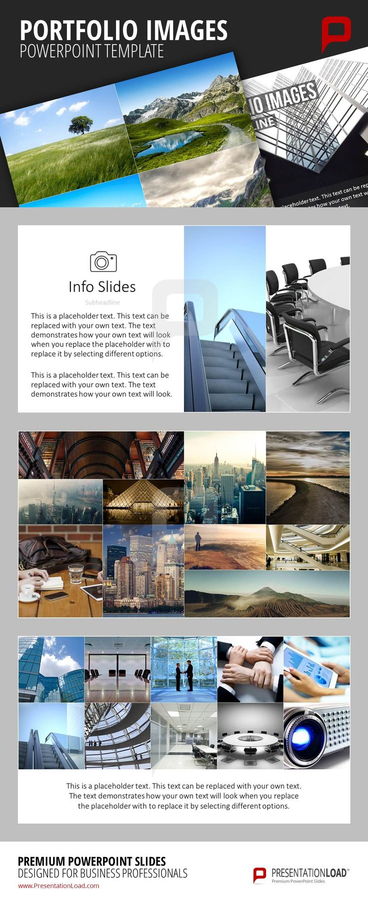 Mit unseren Layouts können Sie einfach Ihre Bilder in Ihre PowerPoint-Präsentation einfügen, die dann automatisch angepasst werden. Das gesamte Set ist erhältlich bei beihttp://www.presentationload.de/bildfolien-layouts.html