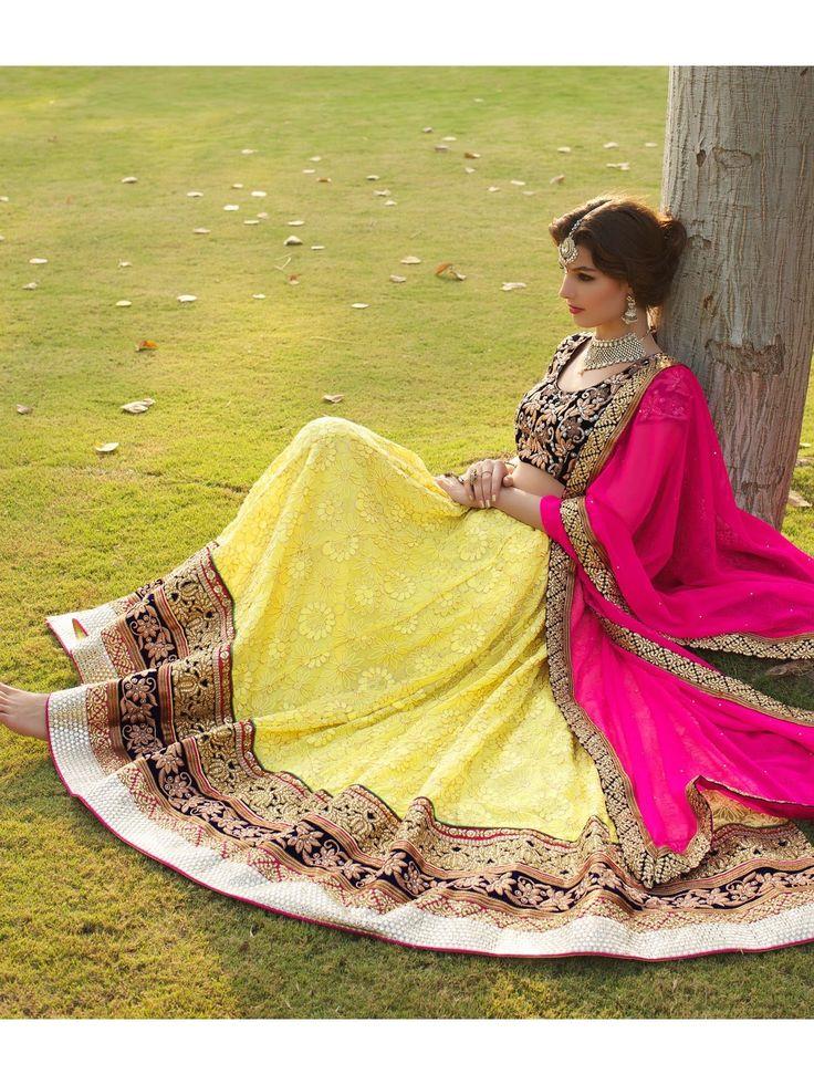 Aesthetic Yellow Lehenga Choli - SLJF070A0194N | Indian Trendz