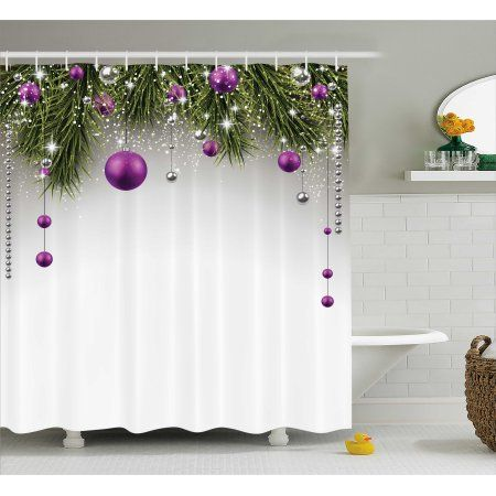 Christmas Decorations Shower Curtain Set, Christmas Tree Decorations Tinsel and Balls with Gift Wrap Ribbon Picture, Bathroom Accessories,  Purple Grey Green, by Ambesonne