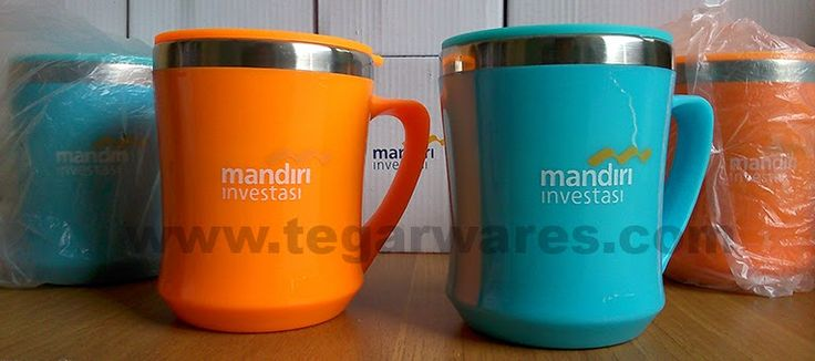 Mug stainless tipe Cleo, for banking merchandise. Ordered by PT. Bank Mandiri Investasi, Jakarta Indonesia. 11.5 x 6 x 6cm Capacity: 350ml. Color: Blue, Green, Orange, Purple