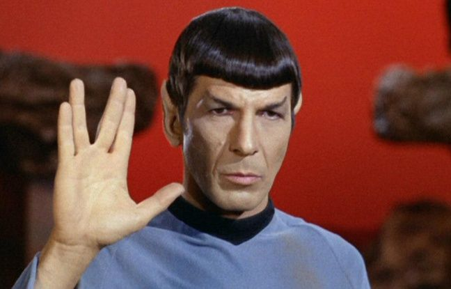 "The actor Leonard Nimoy, in the role of Mr. Spock in ""Star Trek"" series."