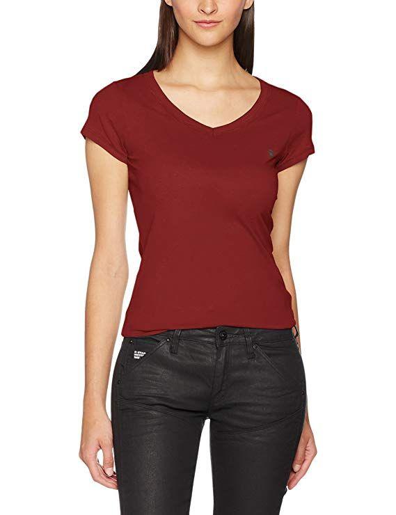 33d2977dc9 G-STAR RAW Damen T-Shirt Eyben Slim V T Wmn S/S, Rot (Burned Red 624 ...