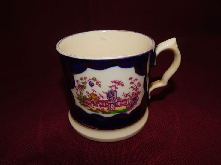 ANTIQUE 19THc GAUDY WELSH MUG CHINESE GARDEN PATTERN CHINOISERIE EARLY VICTORIAN #Mugs