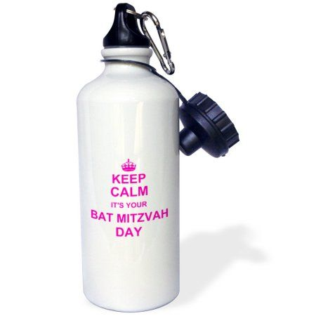 3dRose Keep Calm its your Bat Mitzvah day - hot pink - Good luck Encouraging Jewish girls 12th birthday, Sports Water Bottle, 21oz