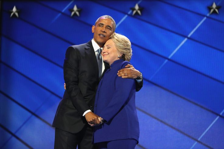 PHILADELPHIA, PA - JULY 27:  US President Barack Obama and Democratic presidential candidate Hillary Clinton embrace on the third day of the Democratic National Convention at the Wells Fargo Center, July 27, 2016 in Philadelphia, Pennsylvania. Democratic presidential candidate Hillary Clinton received the number of votes needed to secure the party's nomination. An estimated 50,000 people are expected in Philadelphia, including hundreds of protesters and members of the media. The four-day…