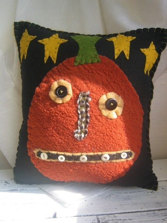 Primitive Pumpkin with Stars Pillow by uneekpillows on Etsy, $14.00