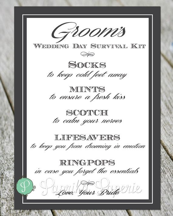 Present your groom with this survival kit on your wedding day. This 5 x 7 card will surely add a memorable touch. After gathering the items