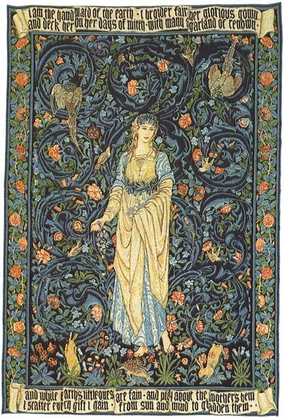 In 1861 Morris founded Morris, Marshall, Faulkner and Company along with friends Peter Paul Marshall and Charles Faulkner and subsequently begun the Arts and Craft Movement. Together with Edward Burne-Jones and fellow artists Ford Maddox Brown and Dante Gabriel Rosetti, the group produced some of the most creative tapestries and wall hangings Britain had seen.