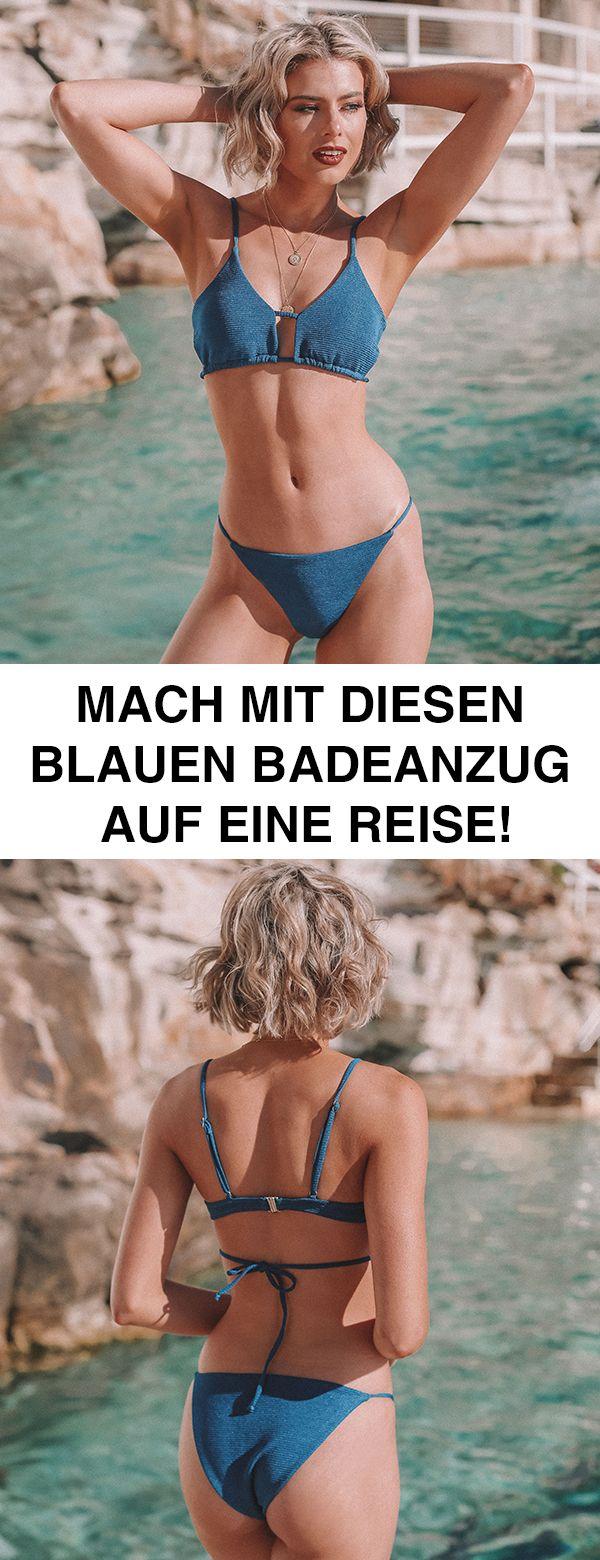 Jeder muss einen blauen Badeanzug haben. Solide oder bedruckt, Bikini oder One-P…