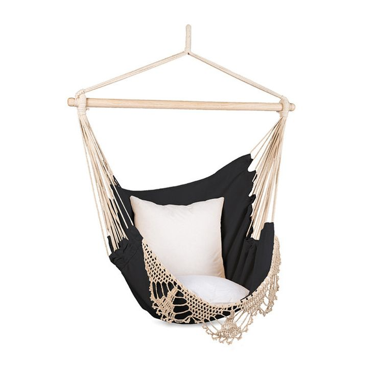 macrame black and natural hammock hanging chair by citta