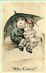 twelvetrees postcards | B5779-Charles-Twelvetrees-postcard-Children-under-umbrella-Written-on ...