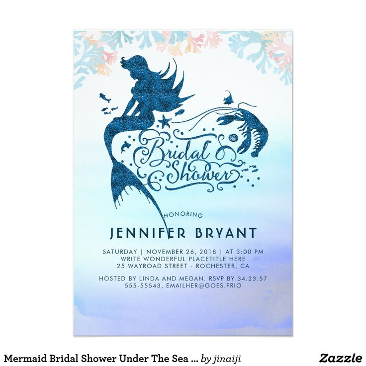 Mermaid Bridal Shower Under The Sea of Love Card Under the Sea Mermaid Bridal Shower Invitation - Blue Glitter Ocean Treasures Silhouettes Watercolors - Turquoise Navy and Blush Pink Beach - Bridal Shower Invitations