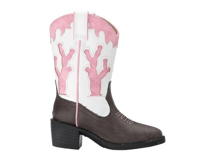 Roper Kids Desert Lights (Toddler/Little Kid) Cowboy Boots Faux Leather Vamp/Cactus Lights