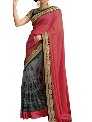 pink- grey colored Georgette - Net embroidered saree - Online Shopping for Sarees