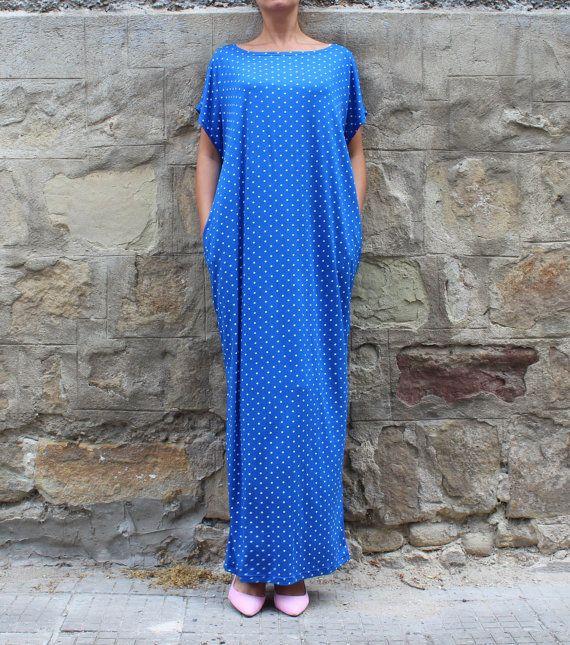 IN vendita blu pois abito abito caftano Abito da giorno