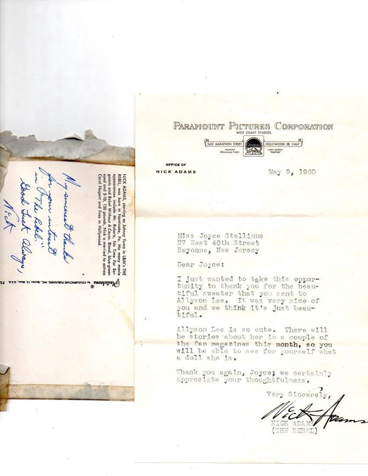 """Nick Adams """"The Rebel"""" Typed & Signed Letter"""